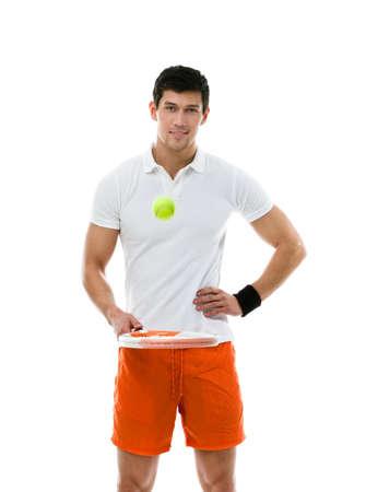 sportsman: Hombre deportivo jugando al tenis, aislado