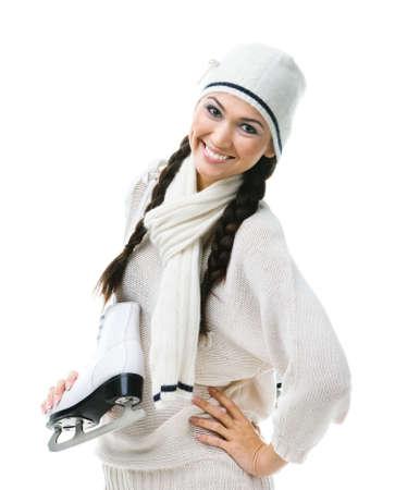 Smiling female figure skater hands skates, isolated on white Stock Photo - 17824352