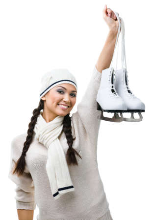 Female figure skater hands skates, isolated on white background Stock Photo - 17824489