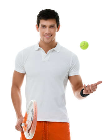 playing tennis: Sporty man playing tennis, isolated on white Stock Photo