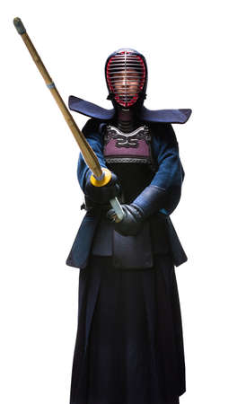 kendo: Full length portrait of kendoka, isolated. Japanese martial art of sword fighting