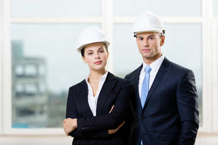 architecting: Portrait of two contractors standing near each other Stock Photo