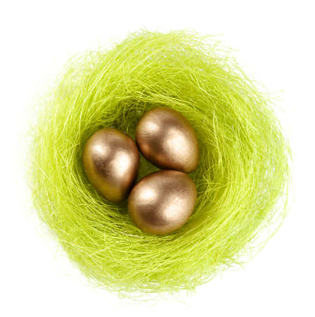 Golden eggs are in the nest of sisal fibre, isolated on white photo