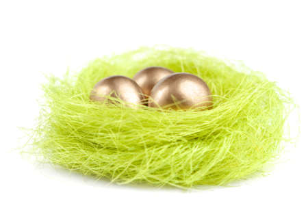 chucky: Golden eggs are in the nest of sisal material, isolated on white
