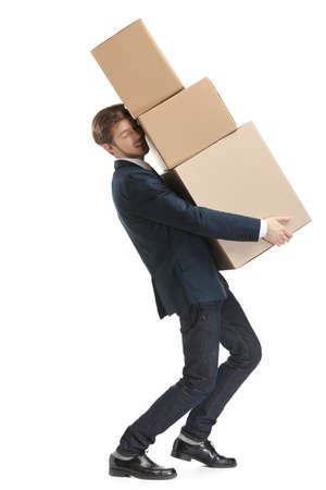 Shop assistant carries the parcel consisting of three boxes, isolated, white background photo