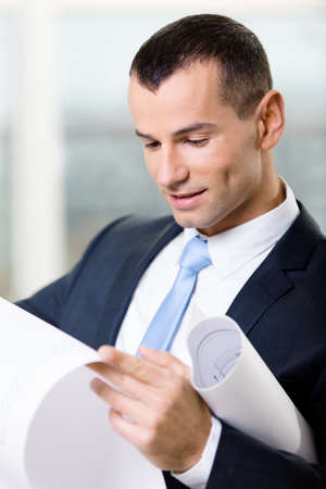 architecting: Close up of manager with draft. Concept of successful construction Stock Photo