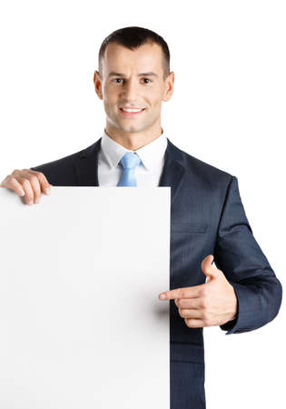 Manager points with hand at paper copyspace, isolated on white Stock Photo - 18077159