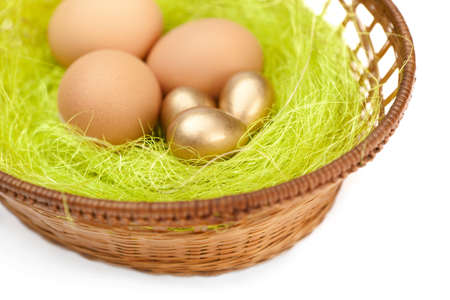 chucky: Brown and golden easter eggs are in wattled basket with sisal green fibre, isolated on white