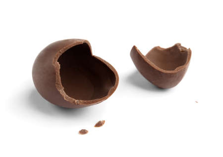 Broken chocolate egg, isolated on white photo