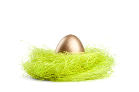 chucky: Golden egg is in the nest of sisal material, isolated on white