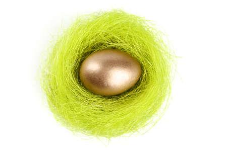 chucky: Golden egg is in the nest of sisal fibre, isolated on white