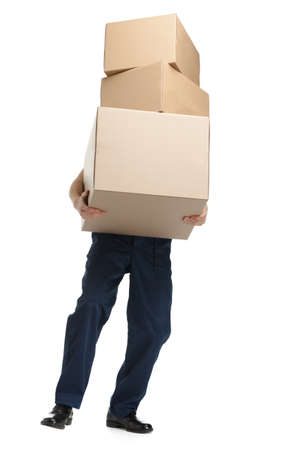 'young things': Workman delivers the heavy parcel of three boxes, isolated, white background