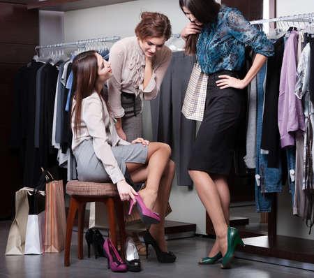 bargain: Putting on new fuchsia shoes