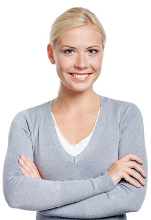 Portrait of woman with arms crossed, isolated on white