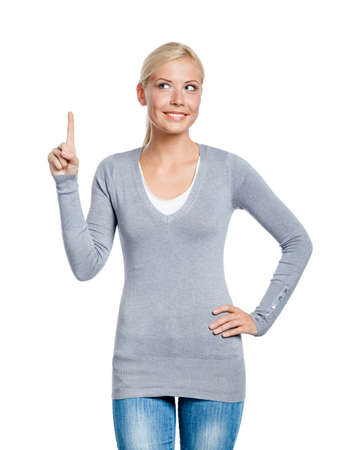 Woman making attention gesture with forefinger, isolated on white