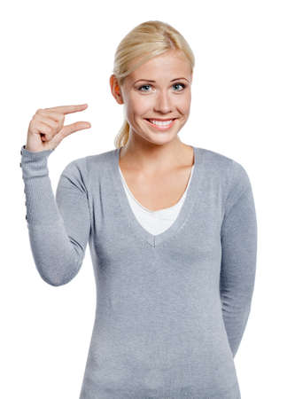 gestures: Woman showing small amount of something with fingers, isolated on white