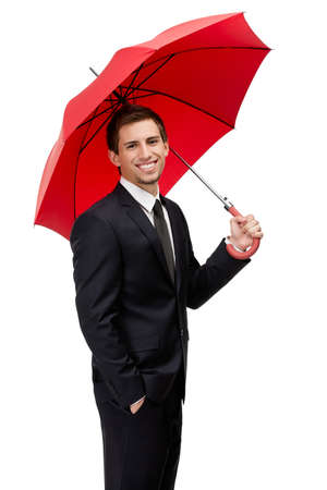 Businessman hands opened red umbrella overhead, isolated on white photo
