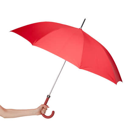 red umbrella: Close up of opened red umbrella in hand, isolated on white