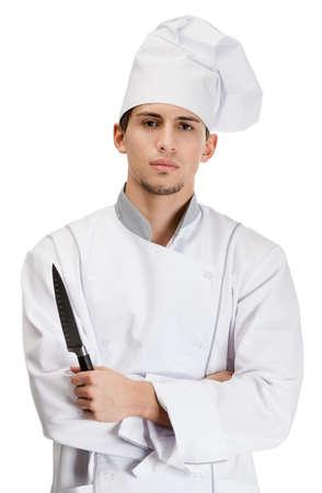 mani incrociate: Cuocere in mano coltello uniforme, isolato su bianco