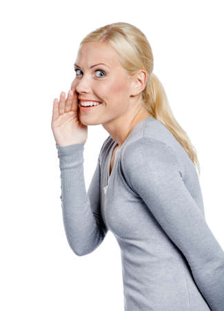 Lady covering moth with hand tells secrets to someone, isolated on white