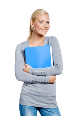 Girl in grey sweater hands folder with documents, isolated on white Stock Photo - 19411980