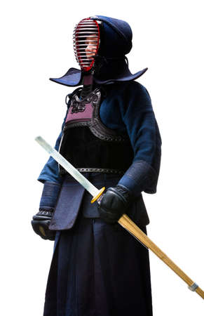 Full length portrait of kendo fighter, isolated on white. Japanese martial art of sword fighting