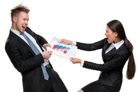 Two businesspeople cant share the document, isolated on white. Concept of competition and job competitive promotion photo