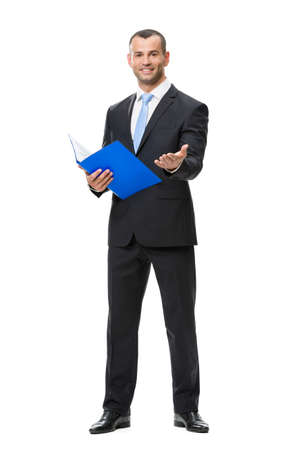 vertical format: Full-length portrait of businessman with folder, isolated on white. Concept of leadership and success Stock Photo