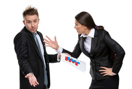 Business woman shouts at manager, isolated on white. Concept of competition and job competitive promotion photo