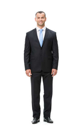 Full-length portrait of businessman, isolated. Concept of leadership and success