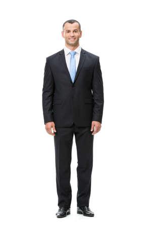 In voller Länge Portrait der Geschäftsmann, isoliert. Konzept der Führung und Erfolg