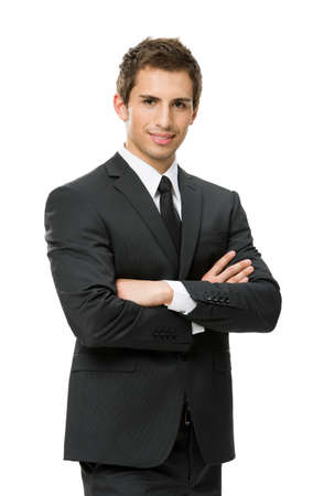 Half-length portrait of business man with crossed hands, isolated on white. Concept of leadership and success