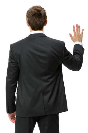 Half-length portrait of business man waving hand, isolated on white. Concept of leadership and success