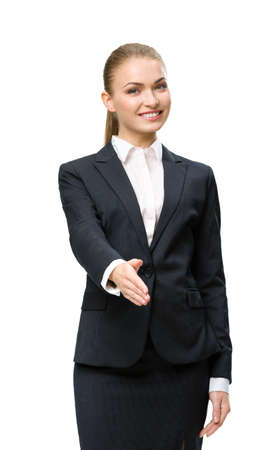 Half-length portrait of handshake gesturing businesswoman, isolated on white. Concept of leadership and success photo
