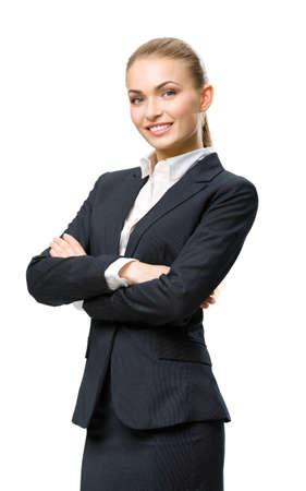 mani incrociate: Mezza lunghezza ritratto di donna d'affari con le mani incrociate, isolato su bianco. Concetto di leadership e di successo