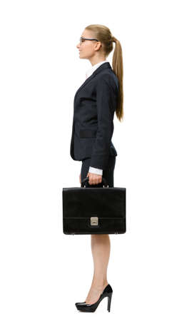 Profile of business woman handing suitcase, isolated on white. Concept of leadership and success photo