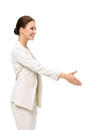 Profil von Geschäftsfrau Handshake Gestik, isoliert auf weiß. Konzept der Führung und Erfolg