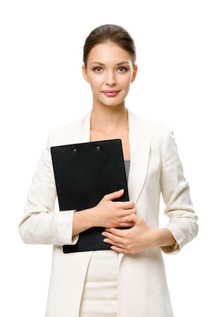 Half-length portrait of businesswoman handing black folder, isolated on white. Concept of leadership and success photo