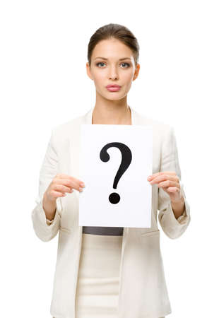 Half-length portrait of businesswoman handing question mark, isolated. Concept of problem and solution photo