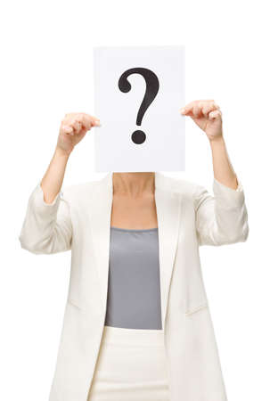 Half-length portrait of businesswoman handing question mark in front of her face, isolated on white. Concept of problem and solution photo