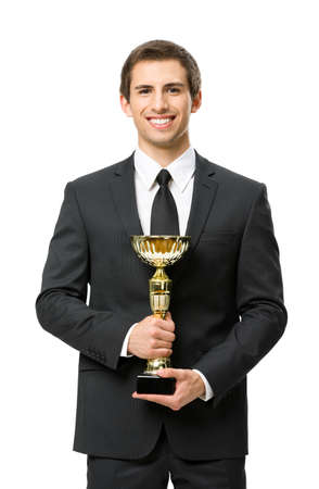 Half-length portrait of businessman with gold cup, isolated on white. Concept of leadership and success photo