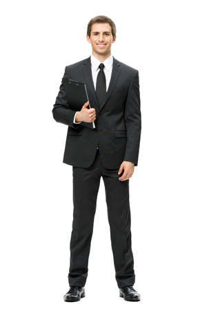 Full-length portrait of businessman with folder, isolated on white. Concept of leadership and success photo