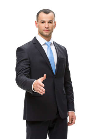 Half-length portrait of business man handshake gesturing, isolated. Concept of leadership and success Stock Photo