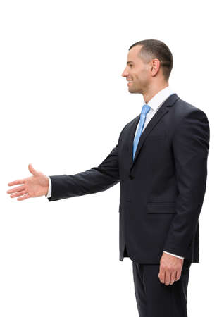 Half-length profile of business man handshake gesturing, isolated on white. Concept of leadership and success