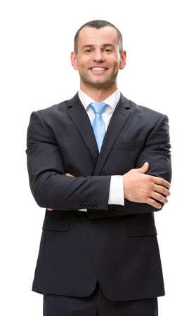 mains crois�es: Demi-longueur portrait d'homme d'affaires avec les mains crois�es, isol� sur blanc. Concept de leadership et succ�s