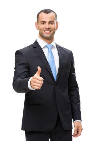 Brustbild von Geschäftsmann Hochdrücken, isoliert auf weiß. Konzept der Führung und Erfolg