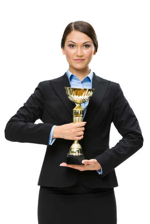Half-length portrait of business woman with cup, isolated on white. Concept of win and success photo