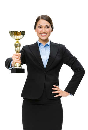 Half-length portrait of business woman with golden cup, isolated on white. Concept of win and success photo