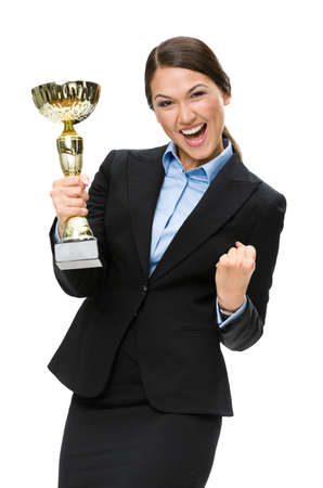 Half-length portrait of businesswoman with gold cup, isolated on white. Concept of victory and success