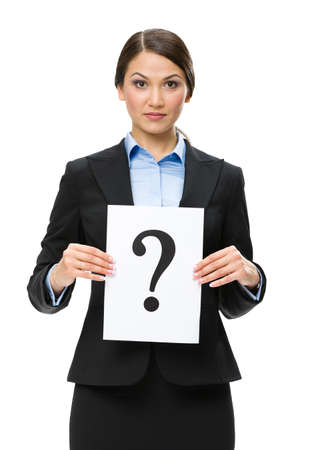 Half-length portrait of businesswoman with question mark, isolated on white. Concept of problem and solution photo